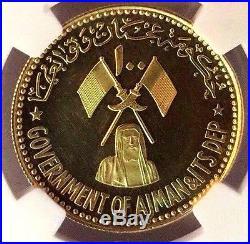 Rare Ajman 1971 Gold Coin 100 Riyals United Arab Emirate Save Venice NGC PF61