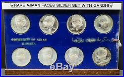 Rare Ajman Faces With Gandhi 5 Riyals Silver Proof Set With Security Seal Unc