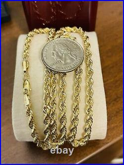 Real 18K 750 Fine Saudi Yellow Gold 20 Long Womens Rope Necklace 6.34grams 4mm