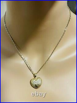 Real 18K Fine 750 Saudi UAE Gold 18 Long Heart Set Necklace With 8.2g 2.5mm