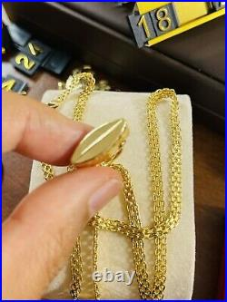 Real 18K Fine 750 Saudi UAE Gold 18 long Womens Purse Set Necklace 3.5mm 6.35g