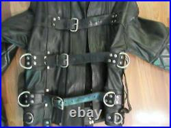 Real Black Leather Heavy Duty Padded Straight Restricted Bondage Buckle Jackets