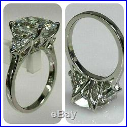 Royal 3.45 carat white cushion cut 14k white gold promise ring 3 stone pre owned