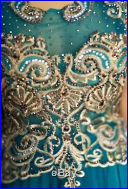 Royal Dubai Peplum bridal Gown Dress Crystal Embroidery Floor Length size 10-22