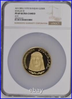Sharjah 1970 (AH1389) Khalid III 200 Riyal Gold Coin NGC 69