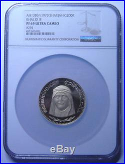 Sharjah 200 Riyals 1970 Gold NGC PF69UC Rare grade POP 1/0