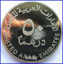 UAE 1998 Save Children 50 Dirhams Silver Coin, Proof