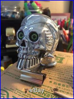 USA Made Green Glass Eyes Grim Reaper Skull Hood/fender Ornament Harley Gabby