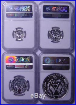 Umm Al Qaiwain 1970 Four Silver coins Set NGC PF6669