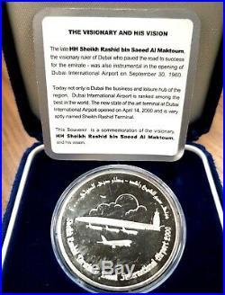 United Arab Emirates Dubai Airport 50 Dirham Silver Coin Year 2000 w note Box