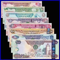 United Arab Emirates SET 8 PCS, 5-100 200 500 1000 Dirhams, 2014-2015, UNC