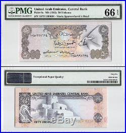 United Arab Emirates (UAE) 50 Dirhams, ND 1982, P-9a, Sparrowhawk, PMG 66