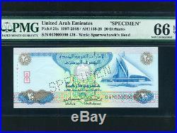 United Arab Emirates (UAE)P-21a, 20 Dirhams, 1997 SPECIMEN PMG Gem UNC 66 EPQ