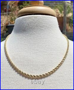 Vintage 18k Gold Rope Chain, 22 Necklace. Fine Gold Jewelry. Over 10 grams