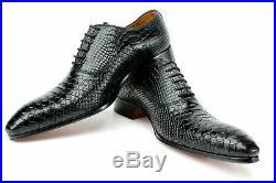 Vintage Black Crocodile Handmade Men Italian Leather Dress Shoes/Oxford Shoes