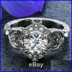 Vintage art deco 2.00cts white round diamond engagement wedding 14k gold ring