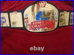 WWF European Championship Wrestling Leather Belt Thick Plated Adult Size
