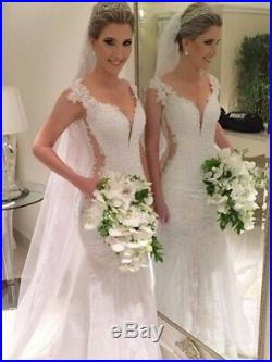 White Ivory Mermaid Wedding Dresses Bridal Gowns Sleeveless Appliques Lace New