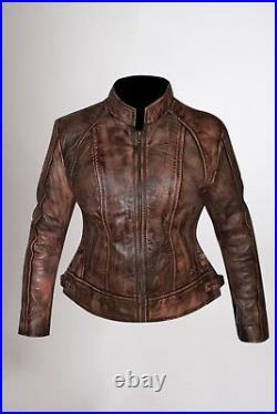 Womens Biker Motorcycle Vintage Wax Brown Real Leather Jacket